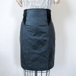 VINTAGE Black Leather Pencil Skirt